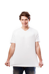 Isolated man in white t-shirt with place for your text