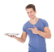 Young Man Holding Empty Plate