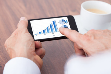 Person Analyzing Graph On Mobile
