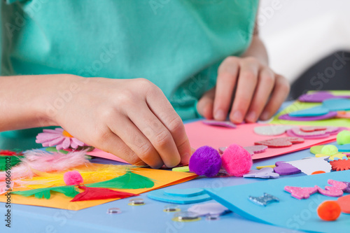 canvas print picture Little boy making crafts