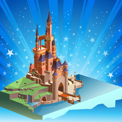 castle and kingdom isometric illustration. detailed building