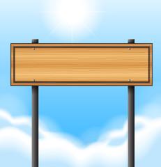 An empty wooden signboard