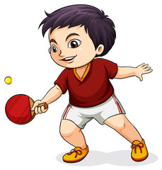 An Asian boy playing tabletennis