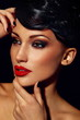glamor sexy brunette model with bright makeup red lips