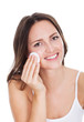 Woman Cleaning Face With Cotton