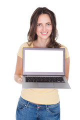 Smiling Woman Holding Laptop