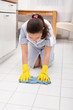 Young Maid Cleaning Floor
