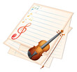 An empty paper with a violin and musical notes