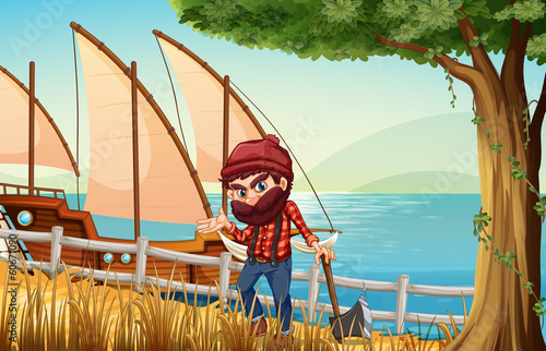 A lumberjack standing at the riverbank with a wooden ship