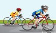 Two bikers racing
