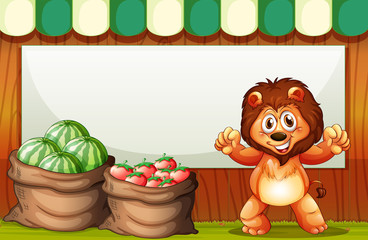 A happy lion selling fruits with an empty template at the back