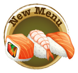 A new menu label with sushi