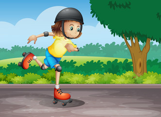 A young girl rollerskating at the street