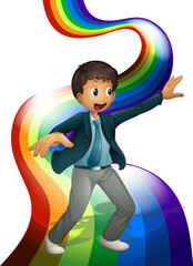 A boy dancing above the rainbow