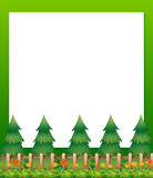 An empty paper template with pine trees and a garden at the bott