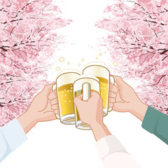 桜 飲み会 Toasting with beer under  Cherry blossoms trees