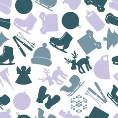 winter icons color pattern eps10