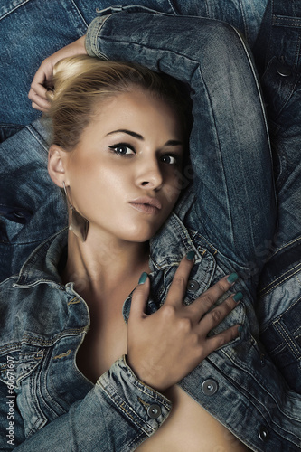 Fashionable Beautiful Woman in Jeans. Denim.Beauty Sexy Girl