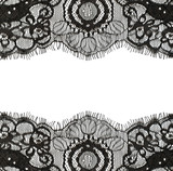 Black lace edges on white background