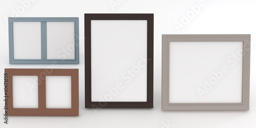 empty frames of wenge wood in various standard