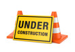 Under construction sign and two road cones