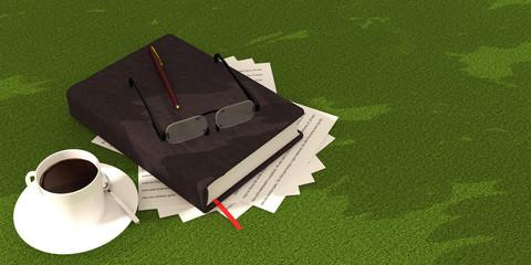 book coffee on green carpet