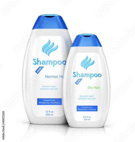 Two white bottles of shampoo