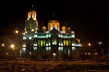 Cathedral in night - Varna, Bulgaria