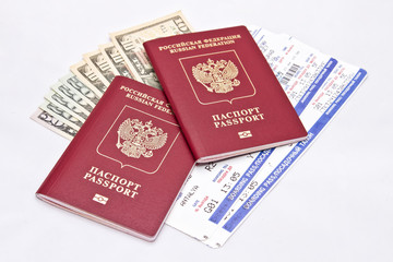 International passport, cash and tickets  on airplane