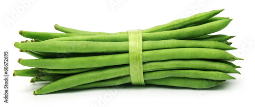 French bean over white background