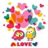 Heart and Owls love cartoon card