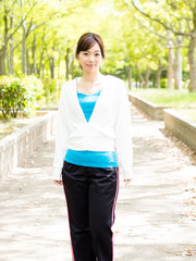 young asian sporty woman in the park