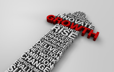 2014 business growth arrow with corporate words