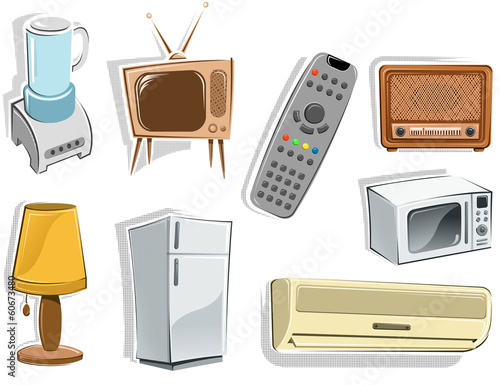 appliance cartoon set