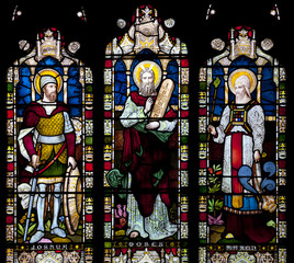 Window depicting Joshua, Moses and Haron in Saint Nicholas