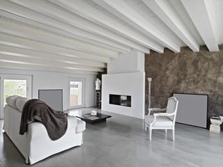 moderno soggiorno con camino in mansarda