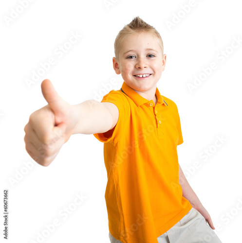 Boy with like gesture isolated on white