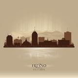 Fresno California city skyline vector silhouette