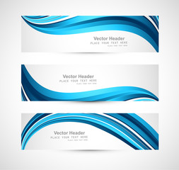 Abstract header blue shiny wave vector design