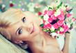 canvas print picture - Beautiful blonde bride with a bouquet of flowers