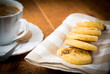 cup of tea with butter biscuits with chocolate chips