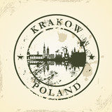 Grunge rubber stamp with Krakow, Poland