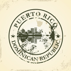 Grunge rubber stamp with Puerto Rico, Dominican Republic