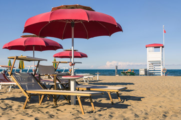 Umbrellas and sunbeds - Rimini Beach - Italy