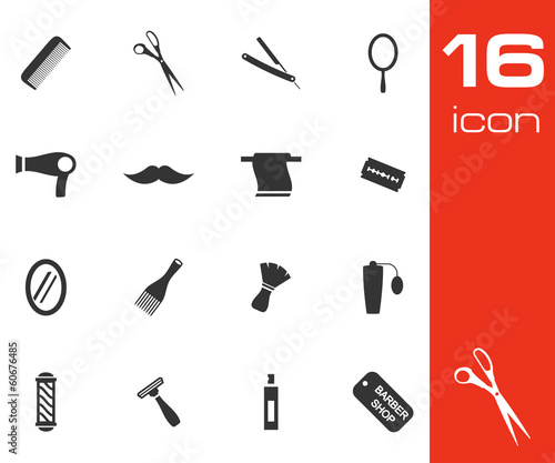Vector black barber icon set on white background