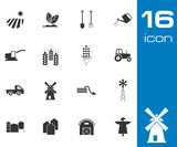 Vector Black  Farming Icons Set on white background