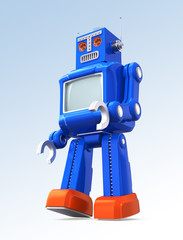 Vintage walking toy robot on gradient background