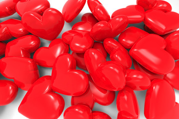 Many red hearts. 3d on white background