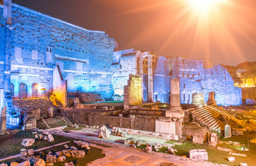 Imperial Forums by night in Rome