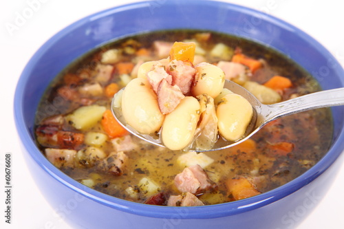 Bean soup eaten with a spoon